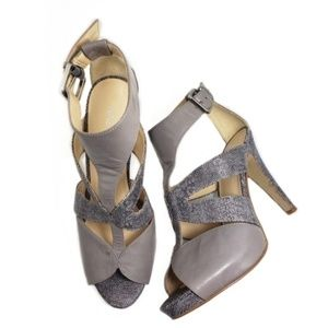 Nine West Peppinoo Gray Open Toe T-strap Heels 7.5